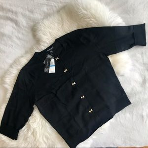 BNWT Black sweater Cable & gauge with sequ…